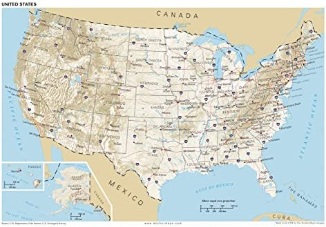 United States Map Of Cities.13x19 Anchor Maps United States General Reference Wall Map Poster Usa Foundational Series Capitals Cities Roads Physical Features And