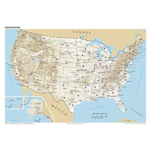 Best X Anchor Maps United States General Reference Wall Map - Best us wall map
