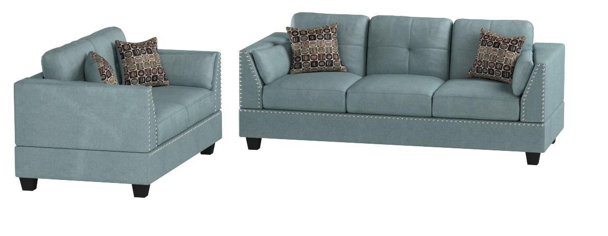 Amazon Com Poundex F6918 Bobkona Zenda Velvet 2 Piece Sofa And Loveseat Set Hydra Blue Furniture Decor
