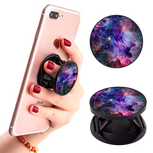Multi-Functional Galaxy Pattern Cell Phone Finger Foldable Expanding Stand Holder Kickstand Hand Grip Car Mount Hooks Widely Compatible with Almost All Phones/Cases