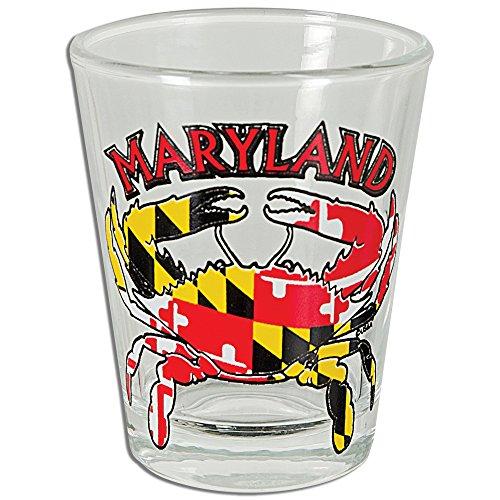 GLMD12 Shot Glass Maryland Crab Flag