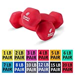 Neoprene Dumbbell Pairs by Day 1 Fitness – 12 Sizes of Pairs Available, 1-20 Pounds – Non-Slip, Hexagon Shape, Color Coded, Easy To Read Hand Weights for Muscle Toning, Strength Building, Weight Loss