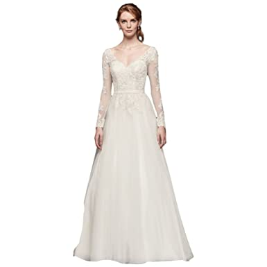 David's Bridal Long Sleeve Wedding Dress with Low Back Style WG3831 at  Amazon Women's Clothing store: