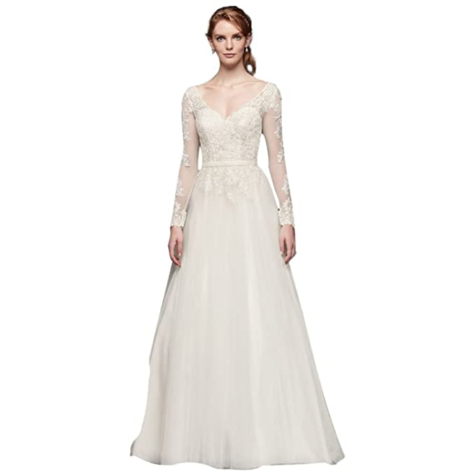 David S Bridal Long Sleeve Wedding Dress With Low Back Style