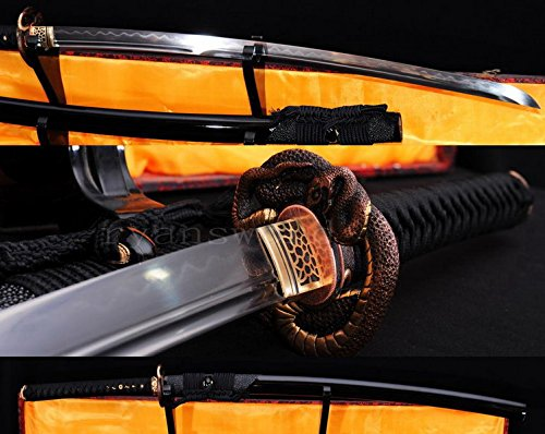 - Hand Made High Quality Honsanmai 1095 Carbon Steel+folded Steel Clay Tempered Japanese Samurai Sword Katana