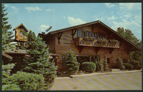Alpine Clock - Alpine-Alpa Cheese Chalet Wilmot OH World's Largest Cuckoo Clock postcard 1950s