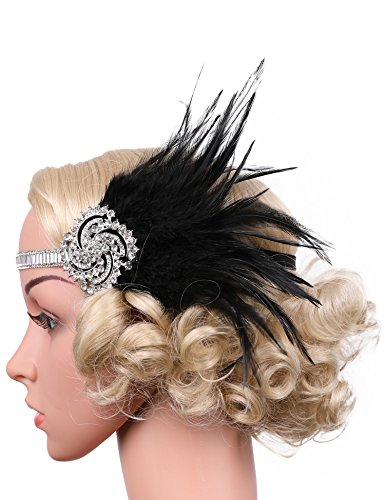 [Flapper Girl Beaded Windmill Headpiece 1920s Gatsby Flapper Headband Feather (Black&Silver)] (Black And Silver Beaded Flapper Headband)