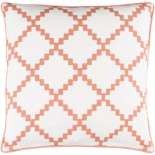 22'' Cotton White and Light Sienna Linen Decorative Throw Pillow- Down Filler by Diva At Home