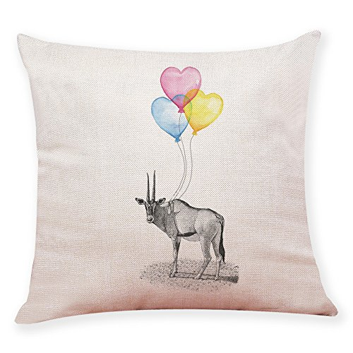 Pgojuni Balloon Animal Decoration Simple Style Home Pillowcase Linen Decoration Throw Pillow Cover Cushion Cover Pillow Case for Sofa/Couch 1pc (H)