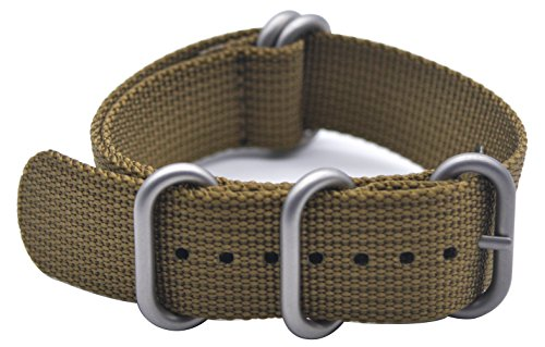 ArtStyle Watch Band with 1.5mm Thickness Quality Nylon Strap and Heavy Duty Brushed Buckle (Khaki, 20mm) Photo #8