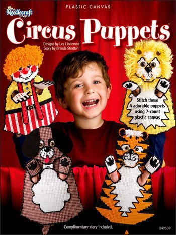 Needlecraft Patterns for Plastic Canvas. 4 Circus Patterns. Clown, Lion, Dog, & Story / Script