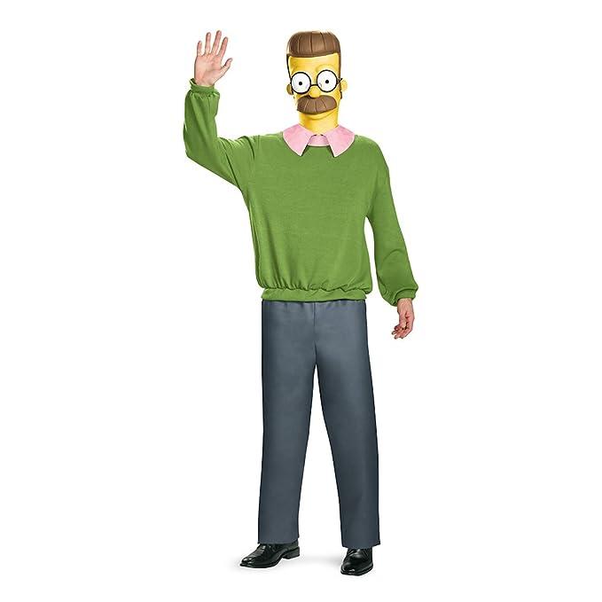 Amazon.com: Disfraz de los hombres Ned Flandes Deluxe Adult ...