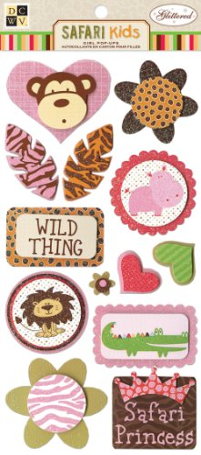 DCWV CP-012-00055 Girl Animal Pop Ups Safari Kids Glitter