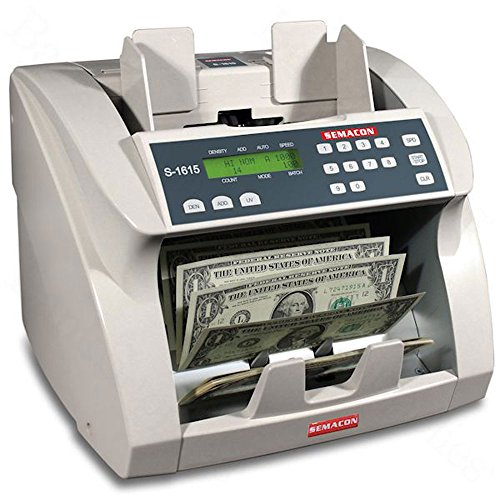 (Semacon S-1615 Ultra High-Speed Premium Bank Grade Currency Counter with Ultraviolet Counterfeit Detection; Counting Mode, Adding Mode and Memory; 1000/1200/1500/1800 Notes per Minute)