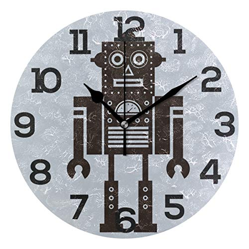 JERECY Funny Cartoon Robot Wall Clock Silent Non Ticking Acrylic 10 Inch Home Office School Decorative Round Clock Art