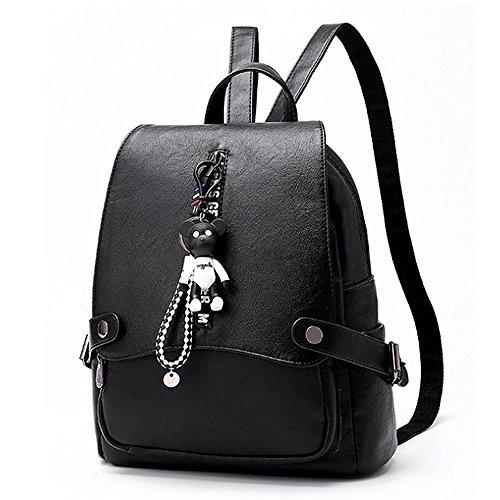 (JVP1073-B3) señoras mochila de cuero de la PU todos los 5 colores de gran capacidad bolsa de viaje de vuelta señoras de moda simple luz popular escuela suburbana Negro