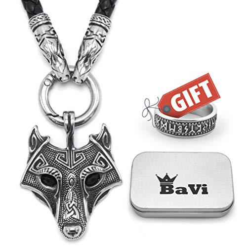BaviPower Wolf Head Pendant with Braided Leather Necklace ♦ Stainless Steel ♦ Nordic Scandinavian Necklace ♦ Authentic Viking Jewelry (27.6)