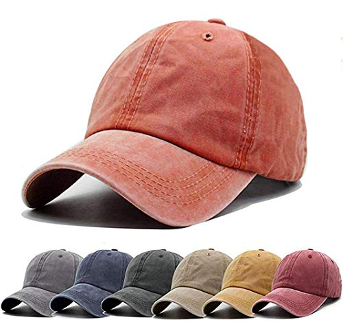 Aedvoouer Unisex Washed Twill Cotton Baseball Cap Vintage Distressed Plain Adjustable Dad Hat (Orange)