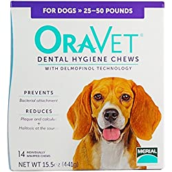 Merial Oravet Dental Hygiene Chew for Medium Dogs (25-50 lbs), Dental Treats for Dogs, 14 Count