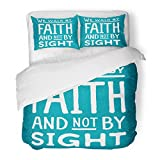SanChic Duvet Cover Set We Walk Faith Not Sight Design Retro Christian Scripture Bible Verse on Colored Decorative Bedding Set Pillow Sham Twin Size