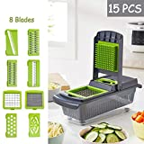 15 Pieces Vegetable Chopper Fruit Cutter Dicer Mandolin Slicer Onion Food Chopper Veg Chopper Dicer Grater with 8 Interchangeable Blades, Drain Basket Container,Gray