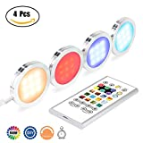 Home Improvement - Pangtong Villa Under Cabinet Lighting - RGBW Led Lights for Home Kitchen Decorations with Remote - DIY Color Timing Function Puck Lights,Closet Lights,Silver 4-Pack