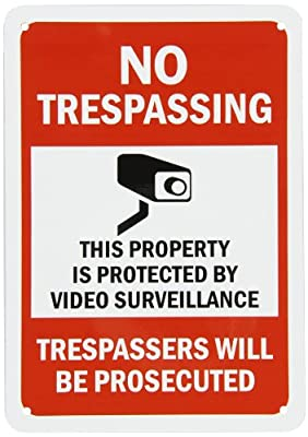 """SmartSign Security Sign, Legend """"No Trespassing - Video Surveillance"""", Black/Red on White"""