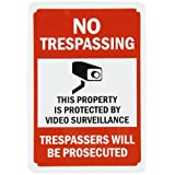 """SmartSign Aluminum Sign, Legend """"No Trespassing-Video Surveillance"""" with Graphic, 10"""" High X 7"""" Wide, Black/Red on White"""