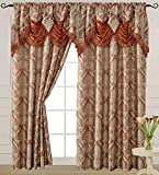"""Brick Curtain Panel with Attached Waterfall Valance 54"""" X 84"""" Tkdecor"""