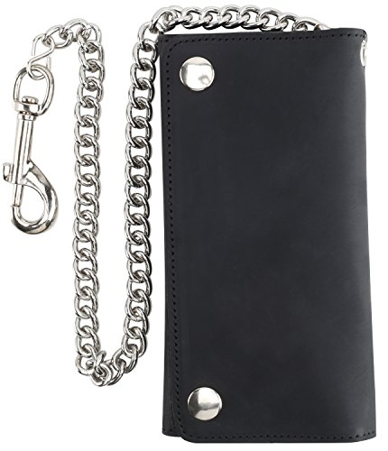 Snap Wallet Long - Men's Tri-fold Vintage Long Style Cow Top Grain Leather Steel Chain Wallet,Made In USA,Snap closure,bw339,solid black