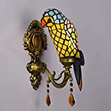 Parrot Wall Lamp Tiffany Style Vintage Stained Glass 1-Light Wall Sconce Lamp Fixture for Corridor Hallway Bedroom Living Room - E14 (Without Bulb) - A