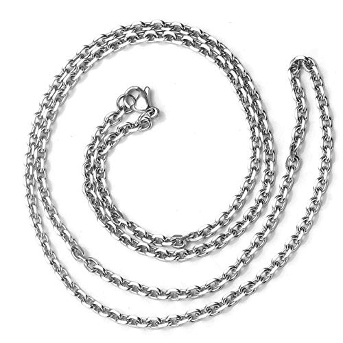 Zysta 3mm Sturdy Nickel Free Stainless Steel 22 inch Lobster Clasp Trace Chain Necklace Women Men Neck Rope Cable Link Replacement Charms Pendant ()