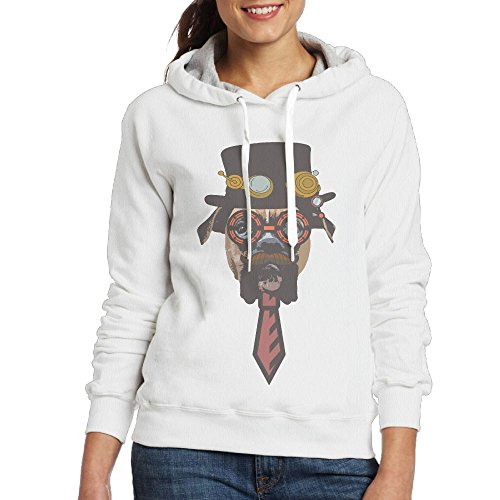 Dynamic Culture And Sporting Steampunk Dog Women's Geek Long Sleeve Sweater XL White