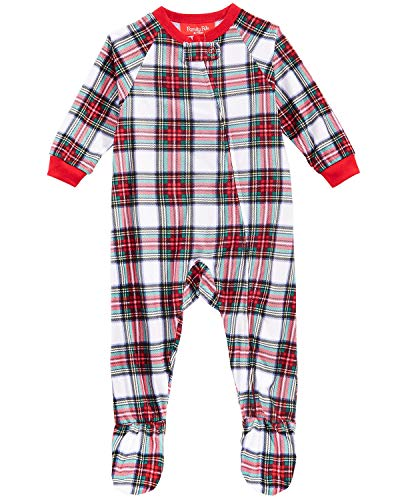 Family Pajamas Infant Stewart Plaid Footed Pajamas (18M, White)
