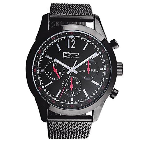 7b1f150d7 Daniel Steiger Manhattan Black Men's Luxury Chronograph Watch - Precision  Quartz Movement With Day, Date