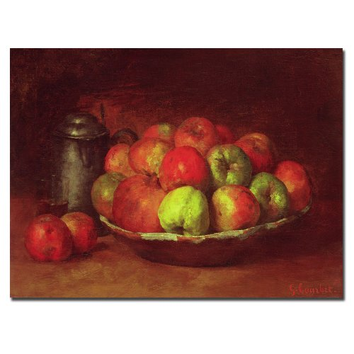 Trademark Fine Art Still Life with Fruit, 1871-72 by Gustave Courbet, 35x47-Inch Canvas Wall Art