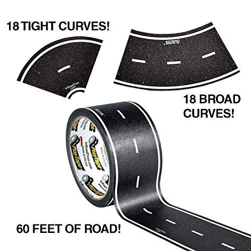 "PlayTape 60' x 2"" Black Road Starter Pack - Includes 2"" Street Curves - Tape Toy Car Track For Kids - Sticker Roll for Cars and Train Sets from PlayTape"