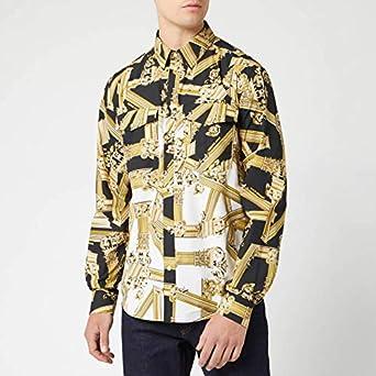 Versace Jeans - Camisa Casual - para Hombre Negro 44: Amazon.es: Ropa y accesorios