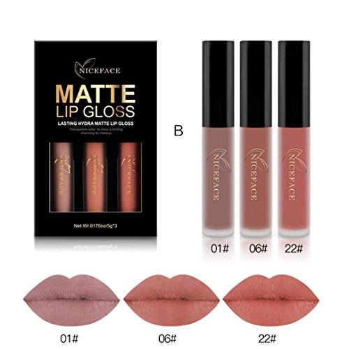 (3PCS Waterproof Matte Liquid Lipstick, Keepfit New Fashion Sexy Lip Gloss Kit Natural Tinted Lip Cosmetic (B))