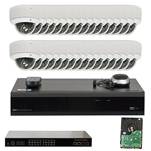 32 Channel 4K NVR IP PoE Video Surveillance System with (32) 5 Megapixel 1920P Weatherproof 2.8-12mm Varifocal Zoom Dome Security Camera (Pre-installed 2 x 4TB HDD, 4x HDD bay, up to 32TB total)