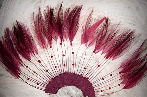 1 Packet of 1 Burgundy 1/2 Circle Pinwheel Hackle Crafting Feathers - for DIY Craft Costumes Hats Pens Hair Accessories Trim Mask Wedding Home Party Decorations