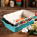 Pioneer Woman Cookware Best Deals - The Pioneer Woman Flea Market 2-Piece Decorated Rectangular Ruffle Top Ceramic Bakeware Set, turquoise & floral baker by BLOSSOMZ