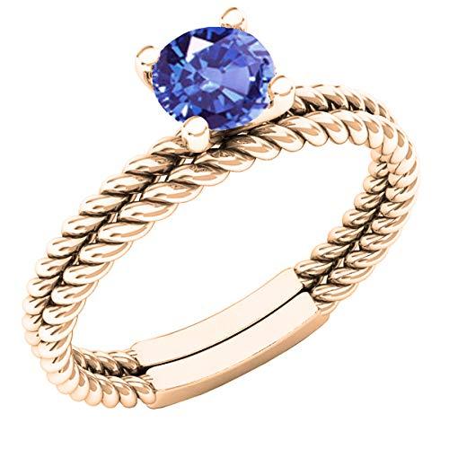 (Dazzlingrock Collection 18K 5 MM Round Tanzanite Ladies Bridal Rope Ring Set, Rose Gold, Size 6.5)