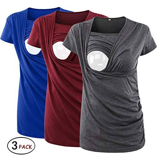 Ecavus 3 Packs Women's Ruched Side-Shirred Nursing Top Breastfeeding Tee ()