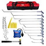 AUTOPDR 26Pcs PDR Dent Puller Kit Auto Car Body Paintless Dent Repair Kit Dent Removal Tool Hail Damage Repair Kit Slide Hammer Air Wedge Pump Pdr Kit Roller Rods with Tool bag