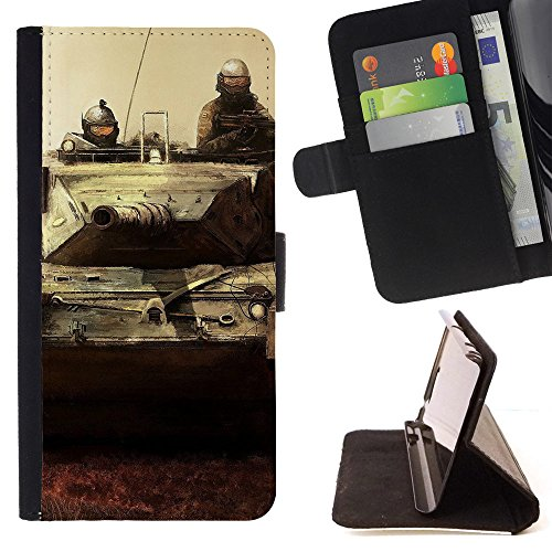 ICE CASE - FOR Apple Iphone 7 - Art Tank Soldiers Weapon - Painting Art Smile Face Style Design PU Leather Flip Stand Case Cover