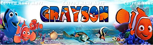 Personalized Finding Nemo Banner Birthday Poster Custom Name Painting Wall Art Decor