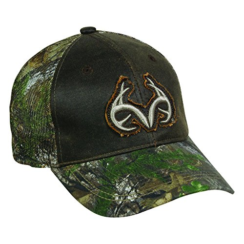 Team Realtree Distressed Frayed Antlers Camo Camoflauge Raised Green Cap Hat 127,Dark Brown / Realtree Xtra Green,One Size Fits Most