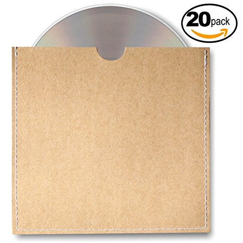 Home Affinity Stitched CD Sleeves Brown Kraft Paper DVD Envelopes 20 Pack