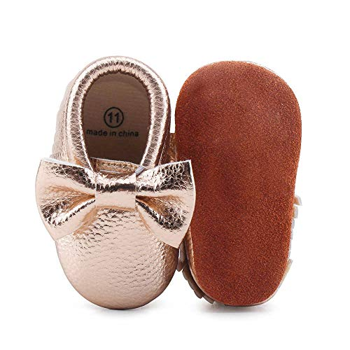 OOSAKU Infant Toddler Baby Soft Sole PU Leather Bowknots Shoes (12 (6-12 Months), Rose ()